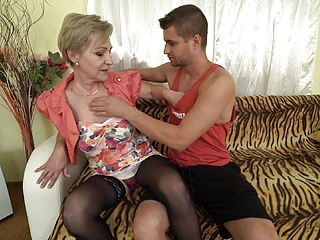 Busty Granny Pleasing Lucky Boy