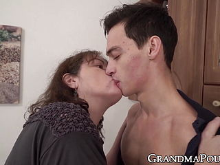 Busty Grandma Knows How To Satisfy A Younger Guy
