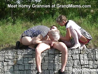 Two Gorgeous Grandmas Are Sucking The Life Out Of A Twink