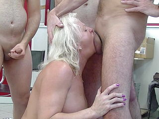 Grandma Enjoys Orgy In The Office