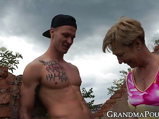 Horny Granny Fucked At An Abandoned Old House
