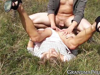 Lustful Granny Fucked By Younger Dude In The Country Side