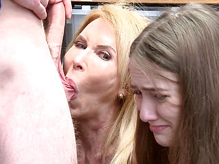 Teen And Granny Share Cum