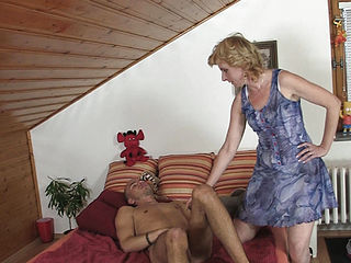 Old Blonde Woman Pleases Horny Son-in-law