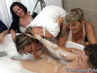 Four Lustful Grannies Working On Big Young Dick Together