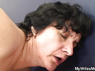 Shaggy-pussy Old Mother Inlaw Rides His Cheating Cock