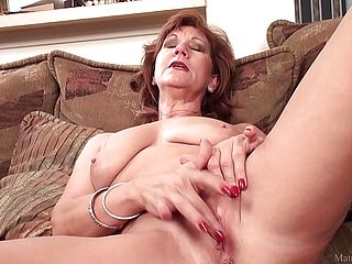 Mature Mommy Brook Frolicking With Her Shaven Honeypot