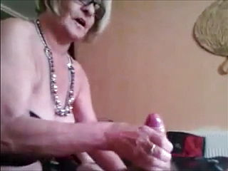 Big Grandma Gives Fast Handjob And Gets Cumshot