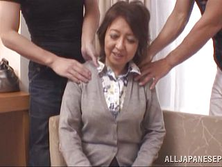 Mature Asian Gets Drilled By 2 Fellows In A Threesome