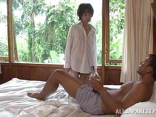 Mature Mummy In A Magnificent Thong Sucks A Immense Cock