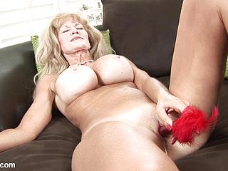 Big-chested Senior Slut Tucks Rock-hard Fucktoy In Her Snatch