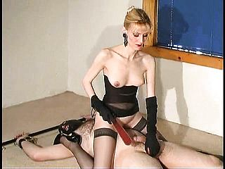 Blond Dominatrix Trusses Up Her Sub And His Plums To Squelch Th