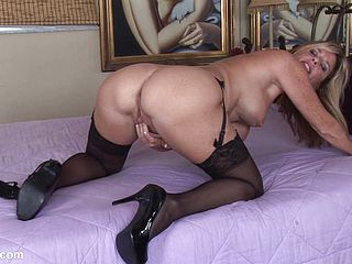stockings Mature heels milf and