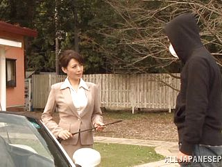 Glamorous Mature Japanese Stunner With Thick Fun Bags Getting Her Wooly Vulva Screwed In Car Before Providing Softcore Blowjob