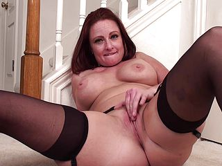 Mature Red-haired Performs Solo Scene