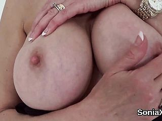 Unfaithful Brit Mature Nymph Sonia Displays Her Fat Balloons