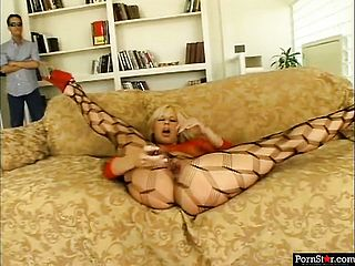 Ash Blonde Babe, Georgia Peach, In Her Fishnets, Playthings Her Coochie Then Gives A Dual Suck Off