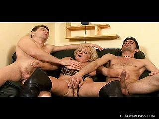 Chubby Aged Tramp Gets What She Indeed Is Worth From Well Hung Guys
