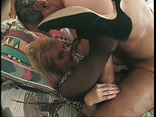 Two Folks Get Their Chisels Sated By One Horny Platinum Blonde Granny