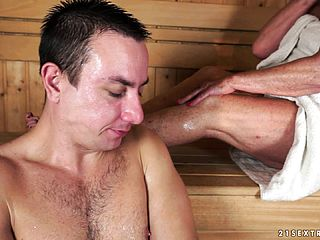 Mischievous Blondie Mature Has A Youthfull Dude Fulfilling Her Needs In The Sauna