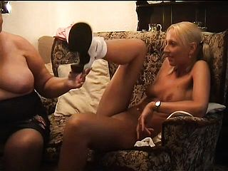 Round Grandma Kneads A Succulent Blondie Pussy And Porks Her With A Faux Cock