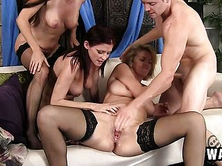 Three Ultra Kinky Mummies Sharing A Youthfull Fellows Rigid Pecker On The Bed