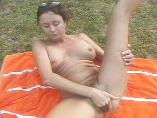 Sex Positive Housewife Donna Has 2 Folks Sharing Her Unshaved Fuckbox Outside