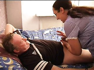 Chunky Nurse With Glasses Mounts Her Crazy Patients Rock Hard Schlong
