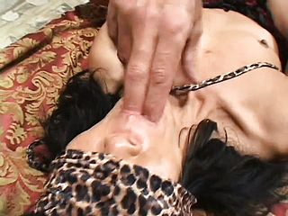 Eyes Covered Older Asian Nymph Gargles His Pink Cigar And Gets Butt Porked
