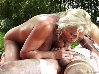 Huge Titted Blond Milf Has A Rock Hard Man Meat Penalizing Her Yummy Fuck Holes Outside