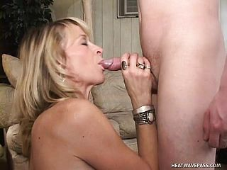 Insane Platinum Blonde Cougar Kari Has A Naughty School Dude Satisfying Her Dreams