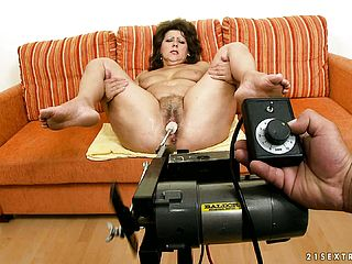 Mature Tramp Get Sher Shaggy Cooter Torn Up By The Automatic Machine