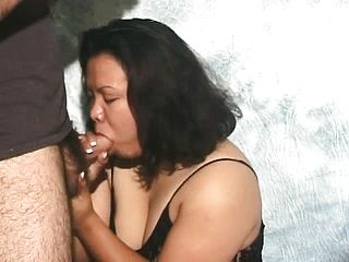 Obese Housewife In A Dark Hued Gown Heads Hard Core During A Point Of View Blowjob