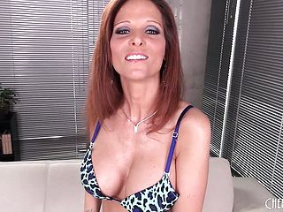 Redheaded Cougar In Mesh Stocking Frigs Herself In A Solo Display