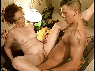 Sizzling Grandma Gets Her Lonely Pussy Looked After By An Impatient Youthfull Spunk Pump