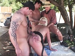 Big Boobed Mature Towheaded Dana Hayes Having Joy With Trio Insane Fellows Outside
