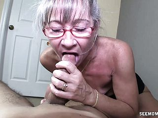 Insane Mature Gal With Glasses Takes A Thick Fuckpole Deep Down Her Jaws
