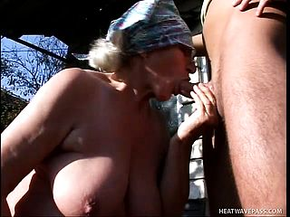 Yam Sized European Grandmother Gets Her Ancient Vulva Poked By A Youthful Farmhand