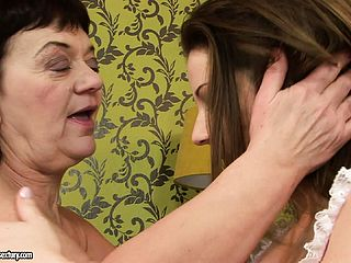 Unshaved Grandmother Is Seduced By The Elastic Arse Of Her Junior Fucking Partner