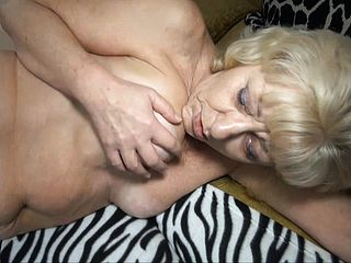 He Wont Pound This Round Granny, But He Does Do It With A Strap Dildo
