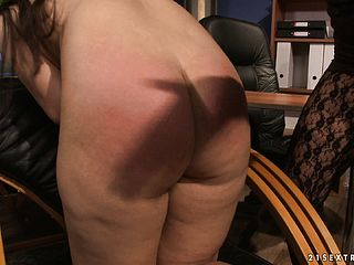 She Gets Her Booty Whacked, Bound To A Tabouret And Nips Pinned