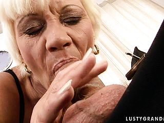 Bitchy Blondie Grandma Has Her Youthful Beau Deeply Humping Her Honeypot