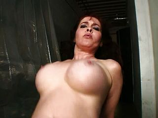 Buxom Ginger Haired Cougar Getting Penetrated Rigid By A Dark Hued Fellow In The Warehouse