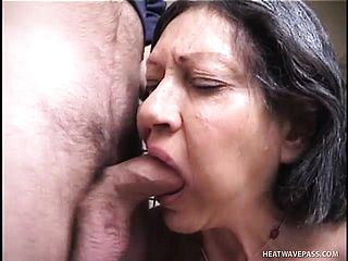 Large Bertha Deep Throats A Youthful Pipe And Sticks Her Yam Sized Elder Muff With A Fuck Stick