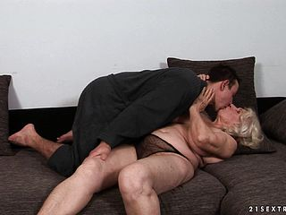 Large Saggy Melon Grandmother Gets A Twink To Do The Messy With Her