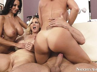 Milfs Get Together To Love Their Recent Preys Stiff Member