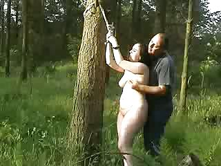 Plump Bi Atch Gets Roped Up In The Forrest