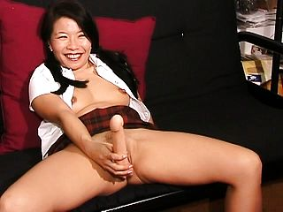 Super Fucking Hot Oriental Dame Silk Starlet Rams A Gigantic Faux Cock Deep Inwards Her Snatch