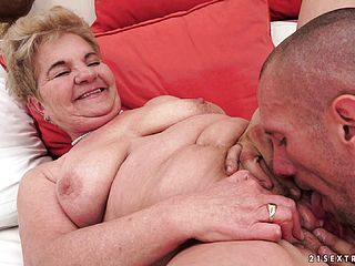 Chubby Grandma Gets Her Elderly Gash Tapped And Chews On His Meat