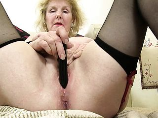 Cock-hungry Grandmother Uses A Fake Penis To Tear Up Her Wet Cooch